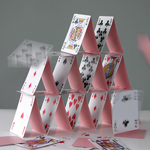 Stack of playing cards in a pyramid